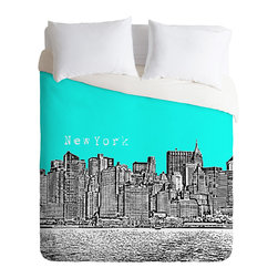 DENY Designs - Bird Ave New York Aqua Duvet Cover - Turn your basic, boring down comforter into the super stylish focal point of your bedroom. Our Luxe Duvet is made from a heavy-weight luxurious woven polyester with a 50% cotton/50% polyester cream bottom. It also includes a hidden zipper with interior corner ties to secure your comforter. it's comfy, fade-resistant, and custom printed for each and every customer.