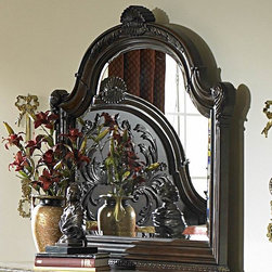 Homelegance - Homelegance Spanish Bay Arched Mirror in Dark Brown Cherry - The Spanish Bay Collection exemplifies the best of Old Europe. Raised ash burl veneer panels are applied to each drawer front. Antiqued brass hardware adds a distinctive detail which subtly contrasts with the dark brown cherry finish. Every case piece features graceful acanthus carvings with marble tops on both the dresser and night stand. The focal point of Spanish Bay is the low post bed which incorporates the many design elements of the other items in the collection and brings added flare with oversized carved finials and a one of a kind floral and leaf carving overlayed on the cherry veneer headboard. Bring home Spanish Bay and bring home the grandeur of European heritage. - 1464C-6.  Product features: Belongs to Spanish Bay Collection; Traditional Style; Ash burl veneer panels; Drawer front; Antiqued brass hardware; Dark brown cherry finish; Graceful acanthus carvings; Marble tops on both the dresser and night stand; Cherry veneer headboard; Arched Mirror Shape. Product includes: Mirror (1). Arched Mirror in Dark Brown Cherry belongs to 21200 Collection by Homelegance.