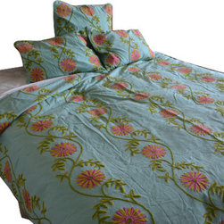 Crewel Fabric World - Crewel Bedding Sunflower Vine Aqua Cotton Duck Duvet Cover, Queen - Artisans in a remote mountain village in Kashmir crewel stitch these blossoms, vines and leaves by hand, resulting in a lush pattern of richly shaded wool yarns on Linen, Cotton, Velvet and Silk.