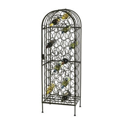 "Howard Miller - Wine Arbor 45 Bottle Wine Rack - Features: -Locking hinged front door.-Arbor features uniquely designed iron work.-Beautifully showcases up to 45 bottles of wine.-Adjustable levelers under each corner provide stability on uneven and carpeted floors.-Constructed from wrought iron.-Warm gray finish.-Distressed: No.-Product Type: Wine rack.-Collection: Wine And Spirits Cabinets.-Finish: Warm gray.-Material: Wrought iron.-Wine Bottle Capacity: 45.-Weather Resistant or Weatherproof: No.-Number of Cabinets: 1.-Number of Doors: 1.-Lockable: Yes.-Handle Design: Latch.-Shelves Included: No.-Lighted: No.-Removable Serving Tray Included: No.-Ice Bucket Included: No.-Wine Glass Storage Included: No.-Adjustable Levelers: Yes.-Stackable: No.-Foldable: No.-Removable Bottle Racks: No.-Commercial Grade Welding: Yes.-Outdoor Use: No.-Commercial Use: No.-Product Care: No.-Gloss Finish: No.-Solid Wood Construction: No.-Door Attachment Detail: Hinges.-Refrigerated Cabinet: No.-Mirrored Back: No.Dimensions: -Overall Height - Top to Bottom: 54"".-Overall Width - Side to Side: 17.5"".-Overall Depth - Front to Back: 14"".-Hanging Chain Length: No.-Overall Product Weight: 35.7 lbs.Assembly: -Assembly Required: Yes.-Tools Needed: Hex wrench.-Additional Parts Required: No.Warranty: -Product Warranty: 1 year from date of purchase."