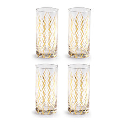 Rosanna - Rosanna La Cite Highball Glasses, Set of 4 - From the La Cite Collection by Rosanna, these gold trimmed highball glasses add old-fashioned cocktail glamour to your tablescape, bar cart or cocktail party. Trimmed in 24KT gold.