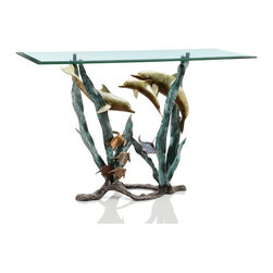 SPI - Cast Aluminum Dolphin Seaworld Glass Top Console Table - This spectacular brass glass top console table features a design of dolphins, turtles and manta rays swimming through simulated sea grass. The glass top is 1/2 inch thick, with beveled edges. The table measures 30 1/2 inches high, 48 inches wide and 18 inches deep.
