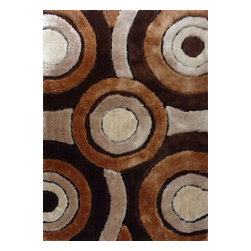 Rug - Geometric Shaggy Design Brown Hand-tufted Area Rug, Brown, 4 X 6 Ft., Solid, Bro - Living Room Hand-tufted Shaggy Area Rug