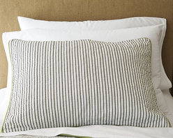 Tailored Stripe Coverlet + Sham - What today's well-dressed bed is wearing. Nicely detailed with hand-stitched stripes and piped edging.