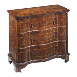 "Inviting Home - Venetian Inlaid Chest - 18th-century Venetian style chest with chestnut and oak burl veneer cherry inlay antiqued brass hardware and three drawers with varese paper lining; 32-1/2""W x 15-1/2""D x 29""H hand-made in Italy Hand-crafted 18th-century Venetian style chest. Venetian chest features chestnut and oak burl veneer inlaid with cherry. This Venetian chest has antiqued brass hardware and three curved drawers with varese paper lining. This inlaid chest is hand-made in Italy."