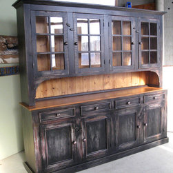 Large Reclaimed Wood Hutch - Reclaimed Wood Hutches are beautifully classic and durable pieces. These pieces can be customized to look sleek or rustic but always are casually elegant. www.lakeandmountainhome.com 978-505-3222