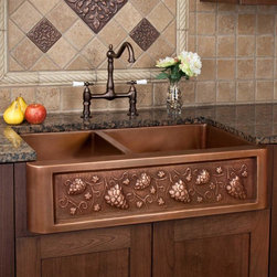 """33"""" Tuscan Series 60/40 Offset Double-Bowl Copper Farmhouse Sink - Bring the feel of Tuscany to your kitchen with this grape motif farmhouse sink, featuring two different sized wells."""