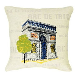 "Jules Pansu - Arc de Triomphe Pop Tapestry Pillow - Since 1878 Jules Pansu {Paris} has created & manufactured some of the most beautiful wall tapestries and fabrics available anywhere. And now their collection includes exquisite home accessories that use the time honored tradition of jacquard weaving and lead the way in innovative textile design. Today Jules Pansu celebrates 130 years of enriching homes with vivid colors, savoir-faire and innovation. Features: -Color: Cream Multi. -Material: Cotton twill. -Insert filled with 95% white goose feathers / 5% white goose down. -210 Thread count. -Dry clean only. Dimensions: -18"" W x 18"" D, 2 lbs."