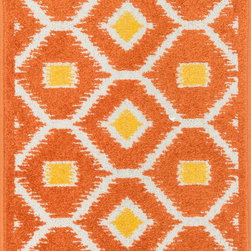 "Loloi Rugs - Loloi Rugs Terrace Collection - Orange / Lemon, 3'-0"" x 3'-0"" Round - Bold design and bright colors come together beautifully in the outdoor-friendly Terrace Collection. Each Terrace rug is power loomed in Egypt of 100% polypropylene that's specially treated to withstand rain and UV damage without staining or fading color.�"