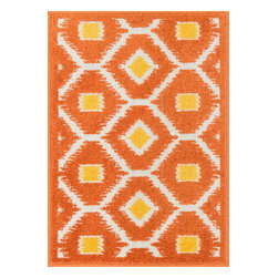 """Loloi Rugs - Orange and Lemon Terrace Rug, 1'8""""x5' - Bold design and bright colors come together beautifully in the outdoor-friendly Terrace Collection. Each Terrace rug is power loomed in Egypt of 100% polypropylene that's specially treated to withstand rain and UV damage without staining or fading color.�"""