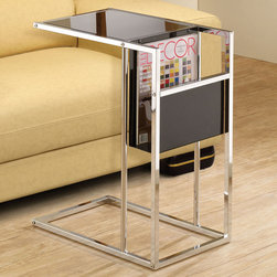 Coaster - 901012 Snack Table - Sleek black and chrome snack table with built-in side magazine rack.
