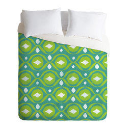 DENY Designs - Loni Harris Summer Green Ikat Duvet Cover - Turn your basic, boring down comforter into the super stylish focal point of your bedroom. Our Luxe Duvet is made from a heavy-weight luxurious woven polyester with a 50% cotton/50% polyester cream bottom. It also includes a hidden zipper with interior corner ties to secure your comforter. it's comfy, fade-resistant, and custom printed for each and every customer.