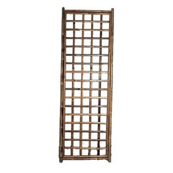 "Master Garden Products - Framed Bamboo Lattice Panel, square pattern opening, 24""W x 72""H - Our popular framed bamboo lattice fence panels are pre-assembled and easy to set up by tying them together with a galvanized wire. The frame is made of 1.5"" Calcutta solid bamboo poles and the trellis is made of 1"" bamboo slats."