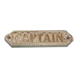 """Handcrafted Model Ships - Chrome Captain Sign 6"""" Vintage Nautical Signs Chrome Signs Beach Kitchen - New - Ideal for posting in a boat, boathouse or any room featuring a nautical decor theme, this solid chrome sign clearly identifies to whom the emblazoned room or item belongs. With a textured background and framing suggestive of a nautical rope or hawser, this distinctive sign will be perfectly at home on you boat, or make you feel like you're on your boat when at home or the office."""