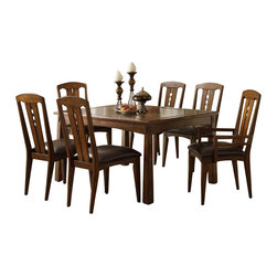 Riverside Furniture - Riverside Furniture Craftsman Home 5 Piece Dining Table Set in Americana Oak - Riverside Furniture - Dining Sets - 29507PCPKG