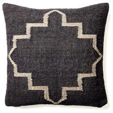 One Kings Lane - The Cozy Cabin - Kilim 20x20 Wool-Blend Pillow, Black