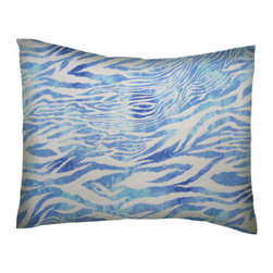 SheetWorld - SheetWorld Twin Pillow Case - Blue Zebra - Made in USA - Twin pillow shams. Made of an all cotton flannel fabric. Side opening. Features a beautiful blue zebra print.