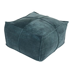 Square Trim Velvet Pouf - Luxurious to the skin as well as the eyes, the Square Trim Velvet Pouf is great as a footstool, seating, or accent in any space. Made of 100% cotton velvet, the pouf is the perfect accent piece for a more inviting interior.