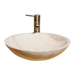 The Allstone Group - V-VR18 White Sands Honed Vessel Sink - Natural stone strikes a balance between beauty and function. Each design is hand-hewn from 100% natural stone.  Vessel sinks can be the most inspiring feature in a bathroom, adding style and beauty to any bath space.  Stone not only is pleasing to the eye but also has the feel of something natural and solid.