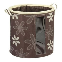 Household Essentials - Round Collapsible Krush Hamper, Chocolate with White Trim - Our Round Collapsible Krush Laundry Hamper with Handles is the perfect laundry and bathroom accessory. The sturdy handles of this bin is designed to carry clothes, linens and towels easily and folds when not in use. A side window in the bin makes the contents visible. Tug it along the poolside or beach to keep store your swimwear, beach towels and other accessories.