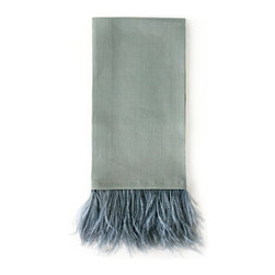 Ostrich Feather Guest Towel - Feather Blue - With the Ostrich Feather Guest Towel - Powder Blue, panache is present in the powder room. A tuft of feathers in gentle blue creates a most unique and distinctive accent for the bath. The unexpected coloration, while distinctive, is soft enough to allow for ease in blending with transitional baths either subtle or bold in color.