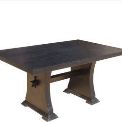 Trestle Pedestal Mission Solid Wood Dining Room Table - Get the space you need both on top and under the table with our Mission Trestle Dining Table. The trestle design creates a stable foundation and frees up the corners.