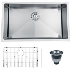 Ruvati - Ruvati RVH7400 Kitchen Sink Single Bowl - Gravena offers a modern, linear style with square / rectangular bowls. The tight radius corners of the bowls make it easy to clean around the linear edges of Gravena sinks. The rear drain placement ensures dishes don't settle on the drain and prevent water flow while the drain grooves in the basin channel water towards the drain, keeping your sink clean and dry.