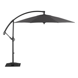 10' Round Sunbrella® Charcoal Free-Arm Umbrella with Base - A chic charcoal canopy of Sunbrella® acrylic fabric blocks out 98% of the sun's UV rays. Sturdy hammer-finished aluminum frame, pole and base in a black powdercoat has a simple crank system that opens the umbrella; arched arm telescopes up and down the vertical pole to adjust the height. Base is outfitted with wheels and handles for easy positioning around outdoor furniture.
