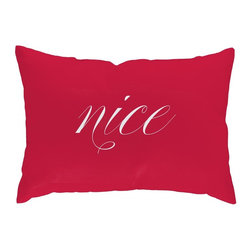 Checkerboard Ltd - Naughty or Nice Decorative Throw Pillow - 14 inch by 20 inch - Our naughty and nice lumbar pillow; you decide which side to feature! Our softly textured cotton/polyester fabric is long-lasting, wrinkle-resistant and feels as great as it looks.