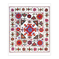 Handmade Modern Suzani L1203 - This new Suzani will spice up your interior decor whether you use it as a wall hanging or a table covering.