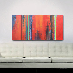 Original Abstract Acrylic Painting by Red Moon Studio Art - Someday I want a huge abstract art piece on display in my family room.