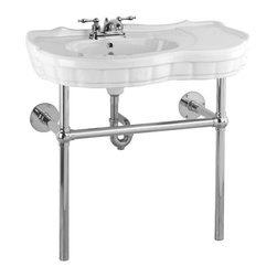 """Renovators Supply - Console Sinks White China Southern Belle Sink Bistro Chrome 4"""" - Console Sinks: SOUTHERN BELLE"""
