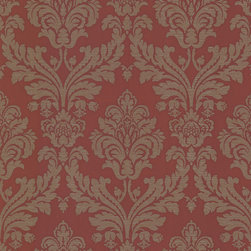 Bradford - Bradford (Kt) Royal Damask Wallpaper - A glamorous red wallpaper with sophisticated brass accents. This dreamy damask evokes tradition and luxury in a striking palette. Each wallpaper bolt is 20.5 inches wide and 33 feet long, covering about 56 square feet. The pattern has a 21 inch repeat and a Straight match.