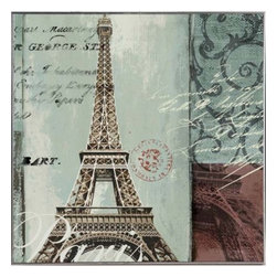 YOSEMITE HOME DECOR - Eiffel Tower - Lightly textured piece balanced with soft muted colors in turquoise and brown with unique stamped writing.