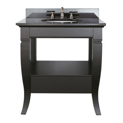Avanity Milano 30 Inch Vanity With Black Granite - Ideal for a powder room or small full bath, the Avanity Milano 30-inch Vanity with black granite top and backsplash fits in with almost any decor.
