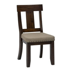 Jofran - Jofran 733-299KD Upholstered Splat Back Side Chair with Nailheads (Set of 2) - This sophisticated chair features a natural elegance with a soft cottage charm. Designed to match with an assortment of styles, this chair features long, lean legs with a classic splat back and a padded seat cushion with nail head trim. The Urban Lodge finish gives it a rich brown tone that capitalizes on the natural wood imperfections.
