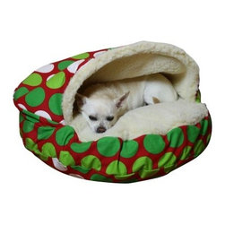 Snoozer Cozy Cave Pet Bed - Large Dots - Keep your furry friend warm and snug with theSnoozer Cozy Cave Pet Bed - Large Dots. The durable poly/cotton blend lining is removable for easy cleaning. Polyester Sherpa lining under the hood and on the top portion of bed provide ultimate comfort. It features a polyester and cedar filling. This cozy round bed comes in a variety of sizes.
