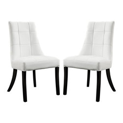 LexMod - Noblesse Vinyl Dining Chair Set of 2 in White - Sweeping lines bring a majestic air to the Noblesse dining chair. Surround your dining table with a royal view that inspires everyone to linger. Complete with a faux leather checkerboard patterned seatback that adds depth to this modern twist on the elegant seating choice, entertain family and friends on this padded chair intended to remain comfortable for hours.
