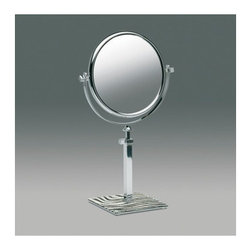 """Windisch by Nameeks - Stand Makeup Mirror - Windisch's Stand Mirrors optical mirror is a magnified mirror that is great for a contemporary style bath. This free stand magnified mirror is a versatile solution for your trendy personal bathroom. This classic magnified mirror is made of the highest quality brass and finished in chrome, brushed nickel, or gold. Features: -Makeup mirror. -Stand Mirrors collection. -Contemporary style. -Round shape. -Free standing. -Extendable. -Double Face. -5x Magnification. Specifications: -Overall Dimensions: 14.96"""" H - 18.11"""" H."""