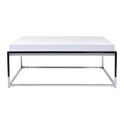 Euro Style - Greta Square Cocktail Table w High Gloss Whit - Modern with an angular, urban design, this rectangular cocktail table will be a stylish addition to any decor. Featuring a sleek gloss white top, the table has a chrome colored metal base and will be perfect paired with a black leather sofa or a contemporary futon. High gloss White Lacquered table top, Chrome base. Made of Lacquered MDF/Chrome. Warranty: 1 year. Tools for Assembly Included. Some Assembly Required. Assembly Instructions. 35 in. W x 35 in. D x 15 in. H (40 lbs.)