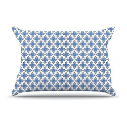 "Kess InHouse - Carolyn Greifeld ""Bohemian Blues III"" White Blue Pillow Case, King (36"" x 20"") - This pillowcase, is just as bunny soft as the Kess InHouse duvet. It's made of microfiber velvety fleece. This machine washable fleece pillow case is the perfect accent to any duvet. Be your Bed's Curator."