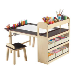 "Guidecraft - Deluxe Art Center - Features: -Art center. -Includes table with storage sides, 2 stools, 6 canvas storage bins, and 1 starter roll of paper. -Constructed of solid wood legs with rugged birch plywood surfaces. -UV-coated tabletop. -47"" x 30"" Tabletop, paper roll holder, canvas storage bins, top storage cubbies and more. -Creates the perfect setting for drawing, crafts and creative activities. -Paper roll holder accepts up to an 18"" roll. -Suitable for years 3 and up. -Adult assembly required."