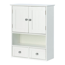Nantucket - Nantucket Wall Cabinet - Charm and Practicality come together in perfect harmony with this wall cabinet .  It adds storage to any space with the two Nantucket-style doors and two pullout drawers, along with the open display shelf.  It is perfect for the bathroom and beyond!  Items not included.
