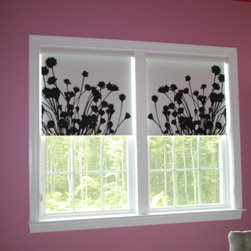 Comfortex - Simple Solutions (Window Treatments) - Personal Roller shades by Comfortex, in an Anna Cote pattern are available as design your own shades.  These are in the Elements blackout fabric, but translucent fabrics and other colors and patterns are also available.  See the Design Your Own shade visualization tool on my website.  Photo by Linda H. Bassert, Masterworks Window Fashions & Design