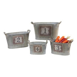 Home Decorators Collection - Counting Buckets - Set of 4 - These bins feature a whimsical numbering design that adds to the rustic appeal of each. Made to last of top-quality materials, you will love having these decorative accents as a part of your home for years to come. Try them together in your kitchen to supplement your storage, or disperse them throughout your space as interesting, original home accents. Order yours today. Crafted of durable materials for years of lasting use. A rustic silver finish completes the look.
