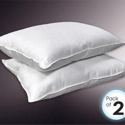 None - 250 Thread Count Soft/ Medium/ Firm Jumbo-size Down Alternative Pillow (Set of 2 - This set of two, white, 250-thread-count pillows are constructed of down alternative to provide a luxurious addition to your bedding. Their 100 percent cotton covers and double-stitched self-piping make these pillows a lasting asset to your bedroom.