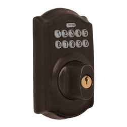 Schlage - Camelot Oil Rubbed Bronze Keypad Deadbolt - B - Finish: Aged BronzeManufacturer SKU: BE365 CAM 613. Handle Type: Deadbolt. For exterior doors; pair with a hall & closet knob or lever when replacing a deadbolt and keyed knob on your door. Professional grade security with the biggest adjustable bolt available for increased resistance to kick-ins. Limited lifetime finish and mechanical warranty. Pre-set, unique, six-digit programming code, two pre-set unique four-digit user codes (19 code capacity). Coordinate with other oil rubbed bronze products. Wear-resistant, silicon-coated keypad so numbers don't wear off. Backlit, simple keypad layout is easy to see and use, even for little hands. 3 Year battery life, 9 Volt battery included. Designed for standard door prep (fits existing pre-drilled holes). Shown in Oil Rubbed Bronze. 3 in. L x 4.5 in. W x 6.5 in. H (4.8 lbs)