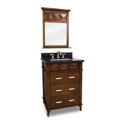 "Faceted Carved Vanity Set - This set consists of 26"" wide solid wood vanity with faceted carvings, preassembled granite top, and matching beveled glass wood framed mirror. Vanity includes three fully working drawers for ample storage. Vanity comes preassembled with a 2.5cm black granite top with 4"" tall backsplash, 16-5/16"" x 11-7/16"" bowl, and cut for 8"" faucet spread."