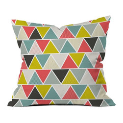 DENY Designs - DENY Designs Heather Dutton Triangulum Outdoor Throw Pillow - 15273-OTHRP18 - Shop for Cushions and Pads from Hayneedle.com! Simple lines bold colors a cushy construction - the DENY Designs Heather Dutton Triangulum Outdoor Throw Pillow is the picture of the modern throw pillow. Crafted with water- and mildew-proof woven polyester this square pillow boasts a striking triangular motif in shades of grey coral and green. Toss it on your favorite chair or lounger indoors or out. Spot clean with mild detergent. Available in 18- and 20-in. sizes.About DENY DesignsDenver Colorado based DENY Designs is a modern home furnishings company that believes in doing things differently. DENY encourages customers to make a personal statement with personal images or by selecting from the extensive gallery. The coolest part is that each purchase gives the super talented artists part of the proceeds. That allows DENY to support art communities all over the world while also spreading the creative love! Each DENY piece is custom created as it's ordered instead of being held in a warehouse. A dye printing process is used to ensure colorfastness and durability that make these true heirloom pieces. From custom furniture pieces to textiles everything made is unique and distinctively DENY.