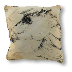 Manual - Wild Mane Horse Throw Pillow 18 In. - This throw pillow is a wonderful addition to the homes of horse lovers, featuring a sketch of a horse head on a neutral beige background. It is 100% polyester, from the cover to the soft stuffing, and measures 18 inches by 18 inches. Recommended care instructions are to spot clean or dry clean only. This pillow looks great on beds, sofas, and chairs, and is a comfy companion for watching TV or settling down with a good book.